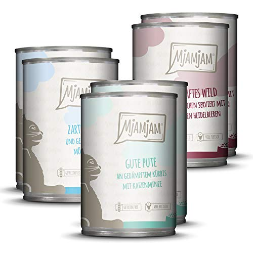 MjAMjAM - Premium Nassfutter für Katzen - Mixpaket II - Wild & Kaninchen, Pute, Ente & Geflügel,...