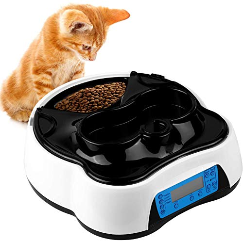 pedy 2 in 1 Futterautomat Katze, Hund Automatischer Futterspender Pet Feeder mit Timer, LCD...