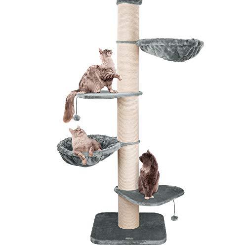 Happypet® Kratzbaum XXL deckenhoch | 250-275 cm | Premium Qualität für große Katzen | mit Deckenspanner | 17 cm Dicke Sisalstämme | 45 cm Liegemulde | geprüfte E1 Holzplatten | Main Coon | GRAU