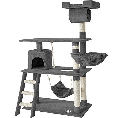 TecTake 800294 Katzen Kratzbaum mit vielen Kuschel- und Spielmöglichkeiten, 141cm hoch, extra breit - Diverse Farben - (Grau | Nr. 401853)