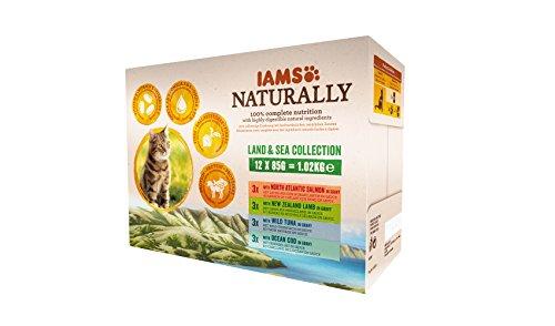 IAMS Naturally Land & Sea Collection in Sauce – Vollwertiges Nassfutter für erwachsene Katzen von...