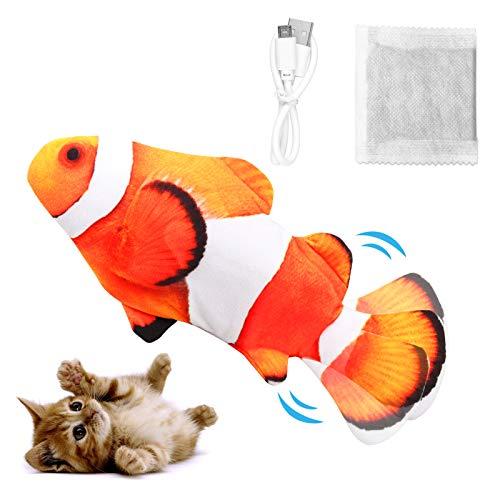 Dyroe Katzenspielzeug Elektrische Fische, Elektrisch Spielzeug Fisch mit Katzenminze Katzen...