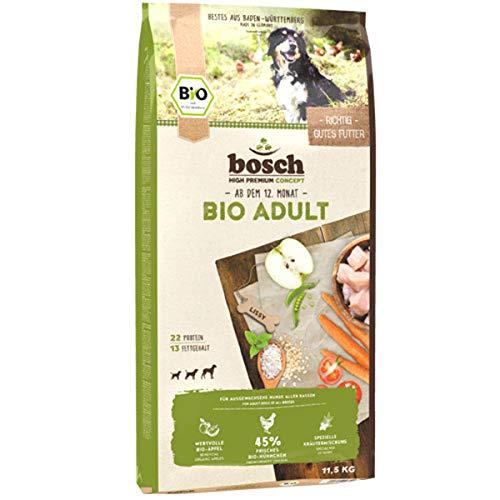 bosch HPC BIO   Adult Hühnchen & Apfel   Hundefutter für ausgewachsene Hunde aller Rassen   100 % landwirtschaftliche Rohstoffe aus nachweislich biologischem Anbau