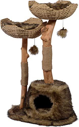 Design-Kratzbaum 'Tony' mit Naturstämmen und Spielball, Katzenmöbel mit Katzenhöhle und zwei Liegeflächen, 60 x 45 x 111 cm, braun