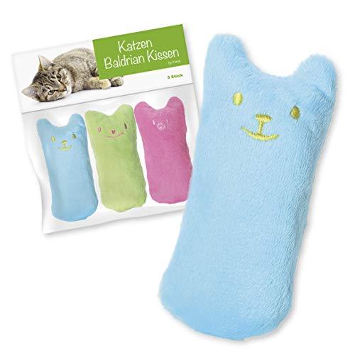 Forck Baldrian Kissen (3 Stück), Knuddelkissen   Schmusekissen mit extra viel natürlichem Baldrian zum Kuscheln und Spielen   Natürliches Katzen-Spielzeug für alle Katzen und Kitten geeignet