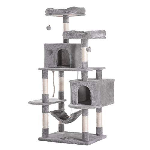 Hey-brother Katzenklettergerüst, Katzenklettergestell, 2 vergrößerne Katzennester, Kratzbaum, Katzen Spielzeug, Sisalseil, gut geeignet für mehrere Katzen, Hell Grau 148cm MPJ020W