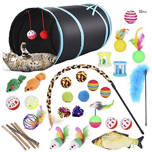 PETTOM Katzenspielzeug Set mit katzentunnel, Bälle, Federspielzeug, Kätzchen Maus Spielzeug,...