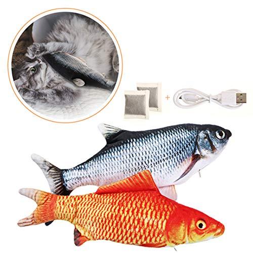 Charminer 2pcs Katzenspielzeug Fische, Elektrische Fische mit Katzenminze Katze Interaktive...