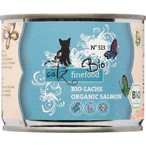 catz finefood Bio Katzenfutter Lachs - N° 513 - Nassfutter für Katzen - 6 x 200 g - Ohne Getreide...