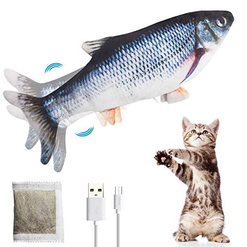 PiAEK Elektrisches Spielzeug Fisch, Katzen Interaktive Fisch Bewegung Katzenminzenspielzeug USB...