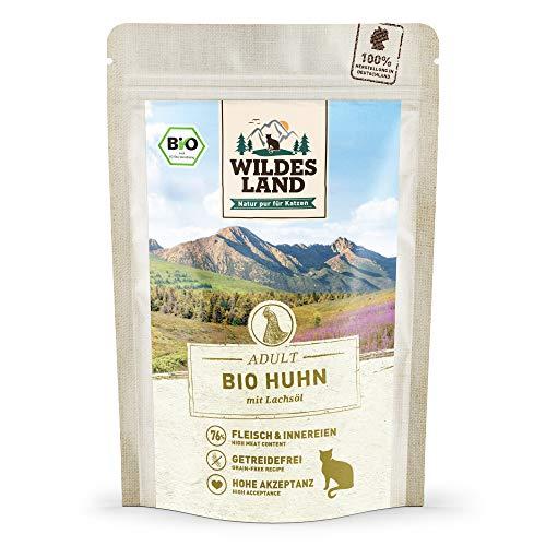 Wildes Land | Nassfutter für Katzen | Nr. 3 Huhn PUR | Bio | 12 x 85 g | Aus kontrolliertem...