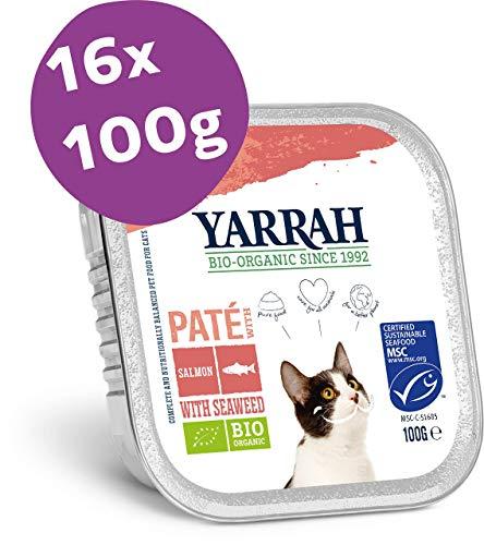 Yarrah Bio-Katzenfutter Pastete mit Lachs - 16 x 100 gr - Geeignet für Katzen Aller Rassen und Altersgruppen - Getreidefrei - Ohne Künstliche Zusatzstoffe, Pestizide und GVO - Mit Algen