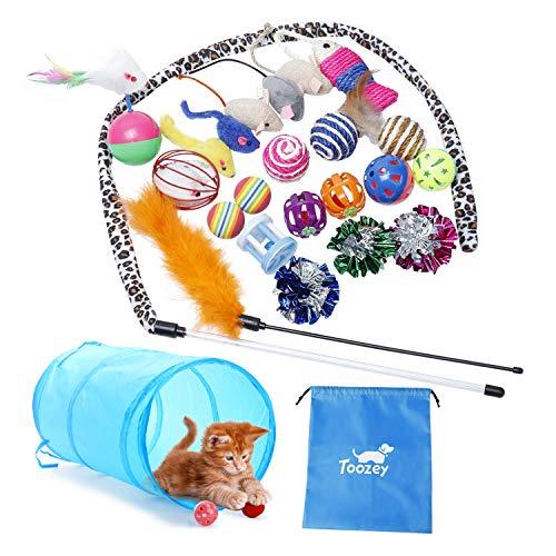 Katzen Spielzeug Toozey Katzenspielzeug Set mit Katzentunnel, Bälle, Federspielzeug,...