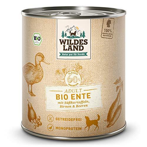 Wildes Land   Nassfutter für Hunde   Bio Ente   6 x 800 g   Getreidefrei & Hypoallergen   Extra hoher Fleischanteil von 60%   100% zertifizierte Bio-Zutaten   Beste Akzeptanz und Verträglichkeit